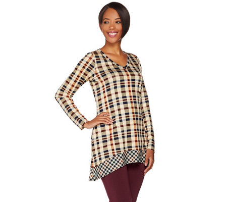 LOGO by Lori Goldstein Mixed Plaid V-neck Knit Top