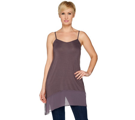 LOGO Layers by Lori Goldstein Solid Camisole with Chiffon Angled Hem