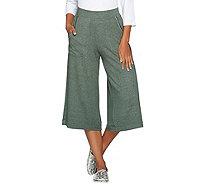Peace Love World Heathered Knit Gaucho Pants with Pockets - A288583