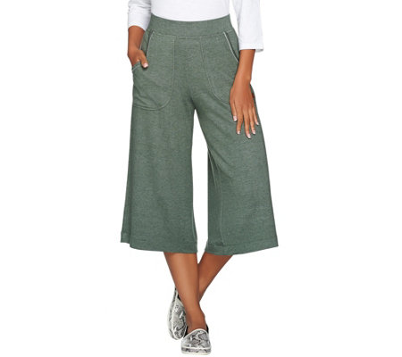 Peace Love World Heathered Knit Gaucho Pants with Pockets