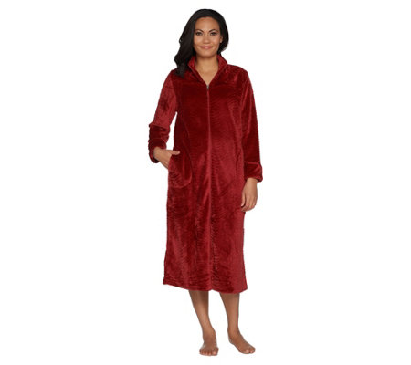 Stan Herman Petite Silky Plush Trimmed Wave Long Zip Robe