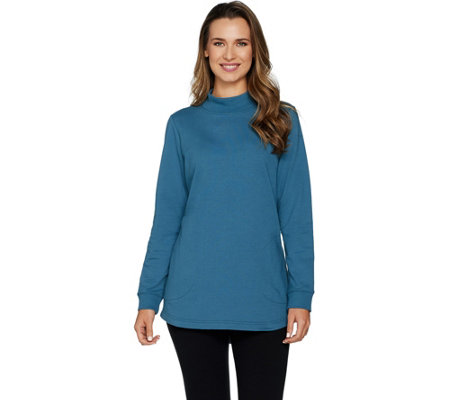 Denim & Co. Active Hi Low Hem Long Sleeve Mock Neck Tunic