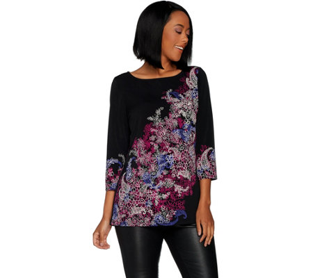 Susan Graver Printed Liquid Knit 3/4 Sleeve Top