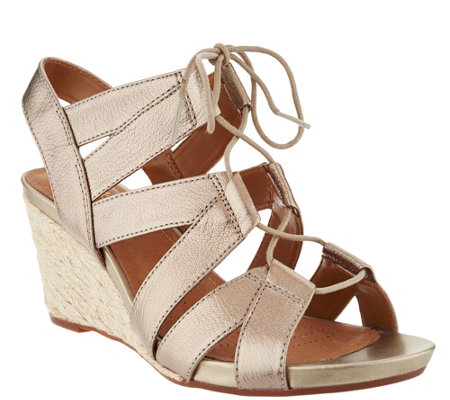 """As Is"" Clarks Artisan Leather Espadrille Lace-up Wedges - Acina Chester"