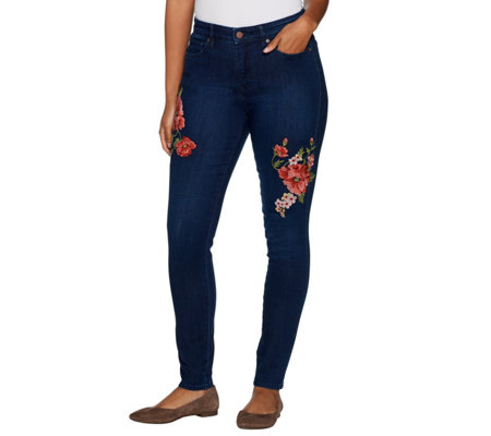Martha Stewart Regular Floral Embroidered 5-Pocket Ankle Jeans