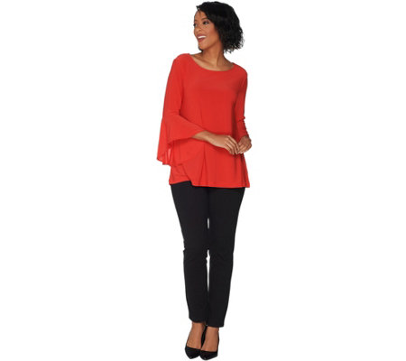 Women with Control Regular Flounce Sleeve Top with Slim Ankle Pant Set