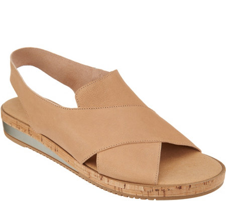 Sesto Meucci Leather Cross Strap Wedge Sandals - Sylke