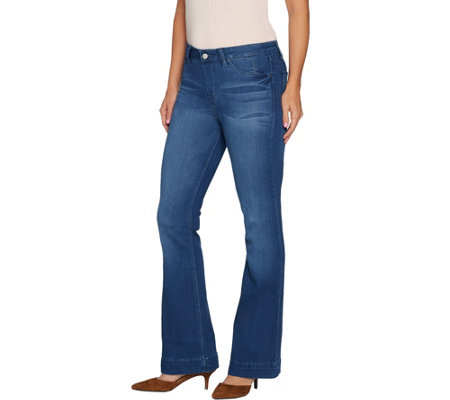 """As Is"" Laurie Felt Regular Silky Denim Flare Pull-On Jeans"
