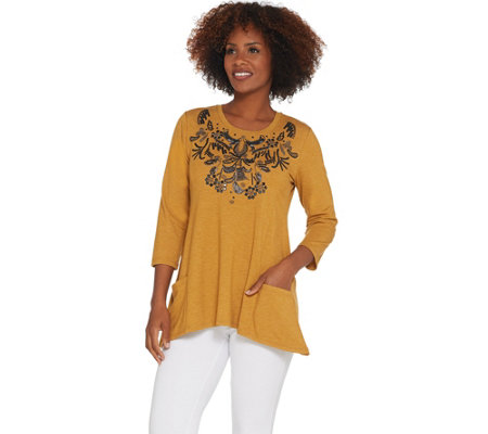 Logo Lounge By Lori Goldstein Lavish Top W Embellished Neckline