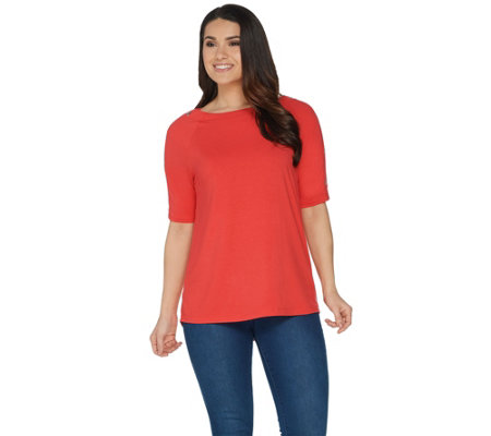 Martha Stewart Knit Elbow Sleeve Top with Grommet Detail