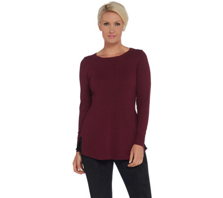 Attitudes by Renee Pullover Sweater with Contrast Tipping