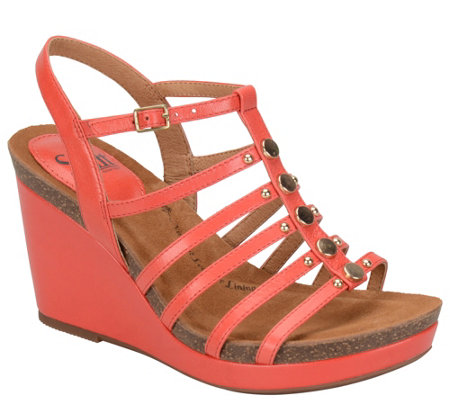 Sofft Leather Wedge Sandals - Cassie