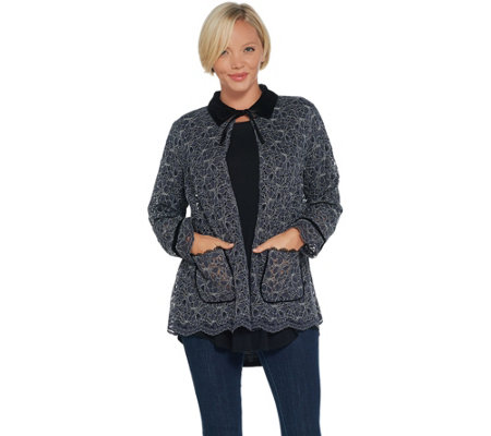 LOGO by Lori Goldstein Lace Jacket with Velvet Details