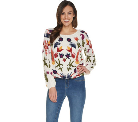"""As Is"" Laurie Felt Embroidered Boho Round Neck Blouse"