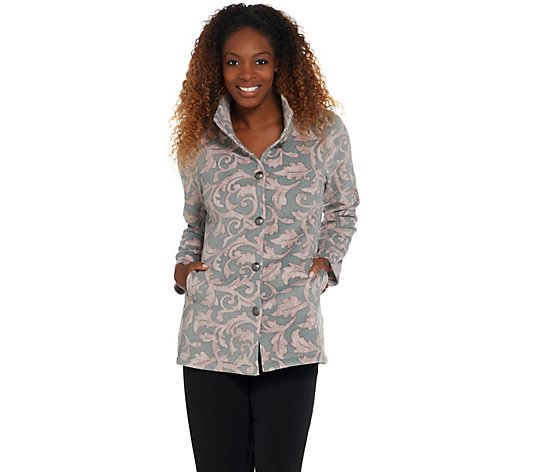 Susan Graver Printed Polar Fleece Button-Front Jacket