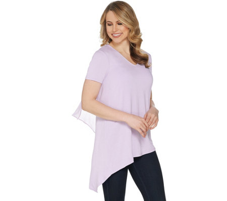 """As Is"" Lisa Rinna Collection V- Neck Top with Chiffon Detail"