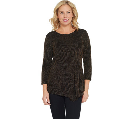 Belle By Kim Gravel Pattern Lurex Top With Side Detail