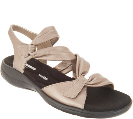 """As Is"" Clarks Leather Light Adjustable Sandals- Saylie Moon"