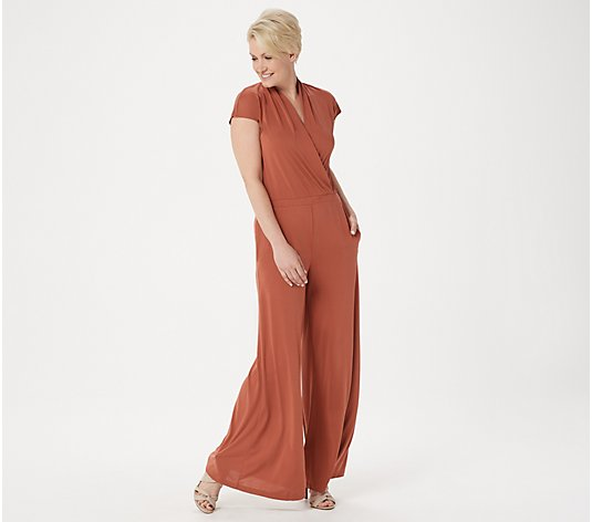 Lisa Rinna Collection Petite Surplice Wide Leg Jumpsuit