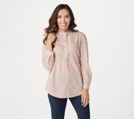 Logo By Lori Goldstein Woven Embroidered Blouse W Collar