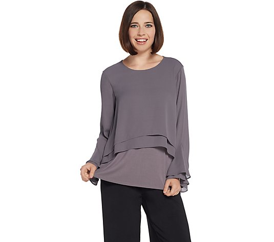 """As Is"" Lisa Rinna Collection Flounce Long Sleeve Blouse"