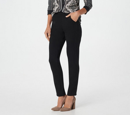 Belle by Kim Gravel Ponte Pant with Side Lace Trim