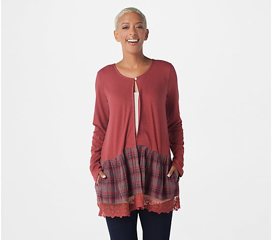 LOGO by Lori Goldstein Cardigan with Crinkled Woven And Lace Hem