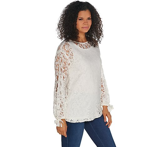 """As Is"" Dennis Basso Lace Bateau Neck Tunic with Knit Tank"