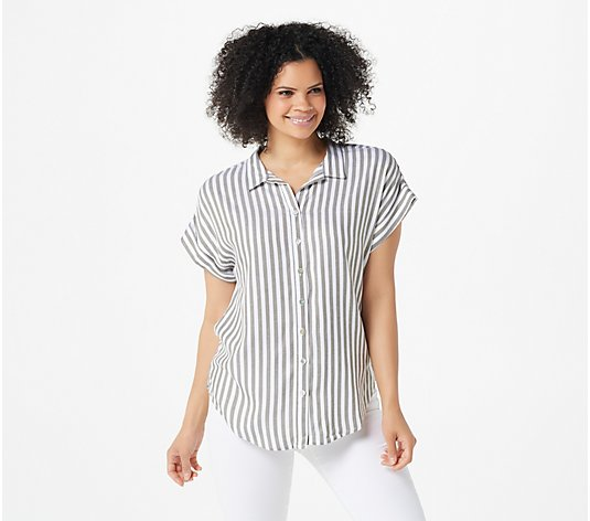 Denim & Co. Naturals Striped Button-Front Top