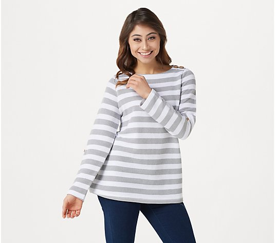 Denim & Co. Active Textured Knit Boat Neck Top w/Roll Tab