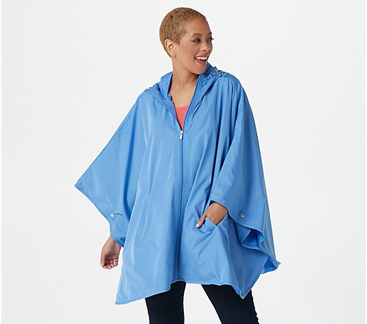 Susan Graver Water-Resistant Packable Poncho with Hood