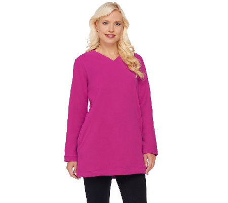 Denim & Co. Long Sleeve Fleece V-Neck Tunic w/ Pockets