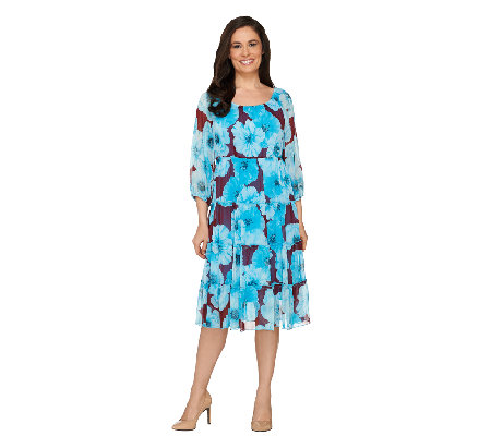 Linea by Louis Dell'Olio 3/4 Sleeve Floral Print Tiered Dress