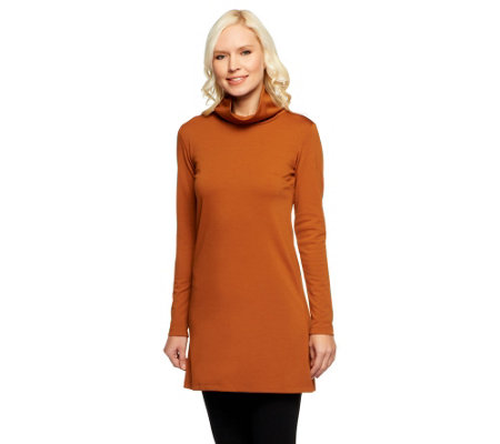 Women with Control Mock Neck Ponte Knit Tunic w/ Zipper Detail