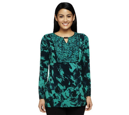 Susan Graver Liquid Knit Printed Tunic with Beaded Keyhole Detail