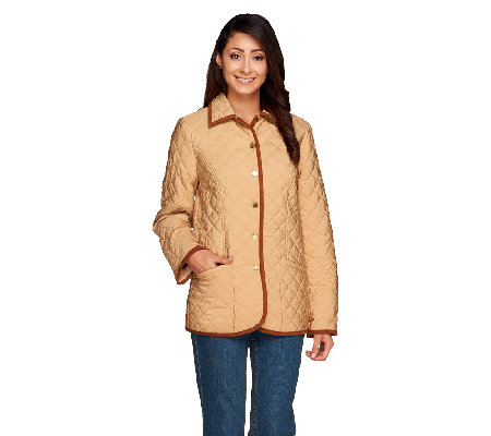 Joan Rivers Quilted Barn Jacket With Corduroy Detail Page 1 Qvc