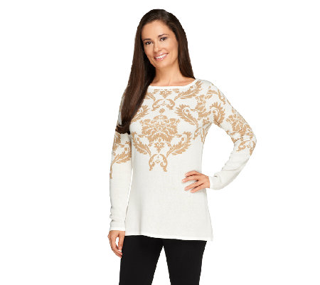 Susan Graver Bateau Neck Long Sleeve Jacquard Sweater