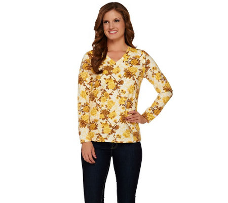 Denim & Co. Perfect Jersey Floral Print Long Sleeve Top