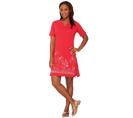 Quacker Factory Short Sleeve Embroidered Dress