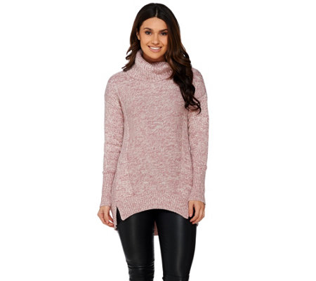 H by Halston Marled Long Sleeve Turtleneck Sweater