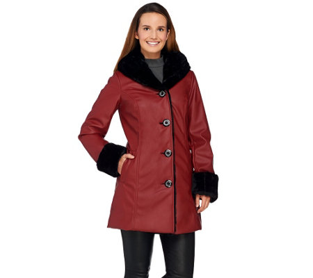 Dennis Basso Faux Leather Coat with Faux Fur Lining & Trim