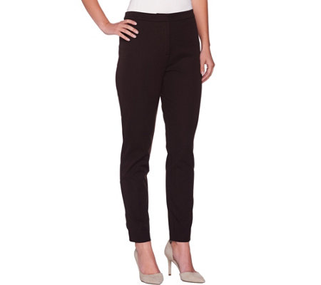 Susan Graver Coastal Stretch Zip Front Ankle Pants w/ Faux Pockets