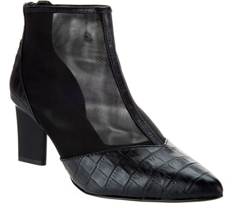 LOGO by Lori Goldstein Leather and Mesh Ankle Boots w/ Zipper