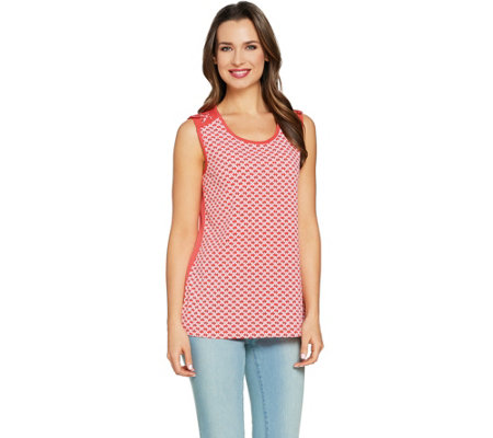 Susan Graver Printed Liquid Knit Sleeveless Top with Lacing