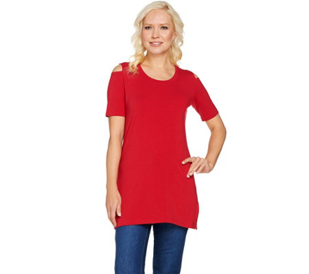 Denim & Co. Petite Perfect Jersey Cold Shoulder Elbow Sleeve Tunic