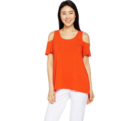 H by Halston Jet Set Jersey Cold Shoulder Knit Top