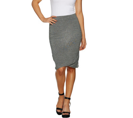 Lisa Rinna Collection Faux Wrap Knit Skirt with Ruched Detail