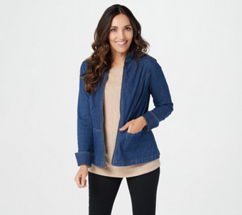 Denim & Co. Stretch Denim Long Sleeve Zip Front Jean Jacket - A294084