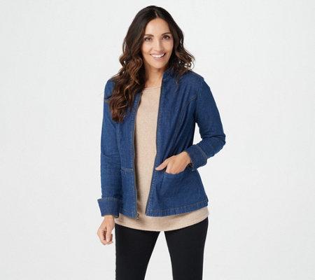 Denim Co Stretch Denim Long Sleeve Zip Front Jean Jacket Page 1