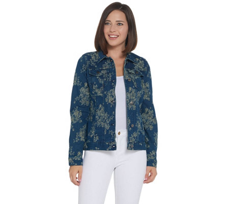 Women with Control My Wonder Denim Floral Jacquard Jacket
